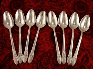 1847 Rogers First Love Set Of 8 Teaspoons 1937 Art Deco photo
