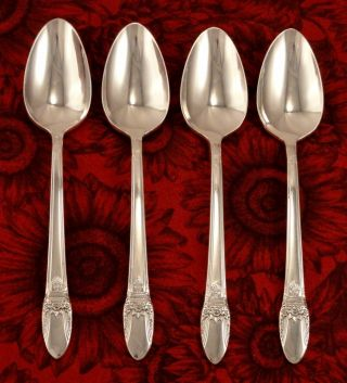 1847 Rogers First Love Set Of 4 Teaspoons 1937 Art Deco photo
