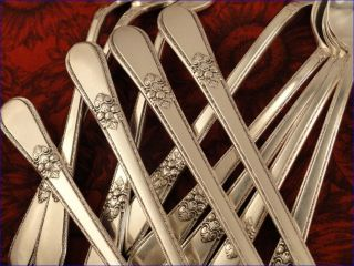 1847 Rogers Adoration Set 8 Teaspoons Tea Spoons 1939 Art Deco Silver Plate photo
