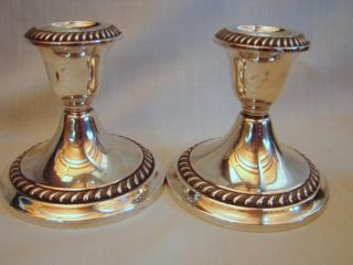 Pr.  Old Gorham Sterling Weighted Candlestick Holders, photo