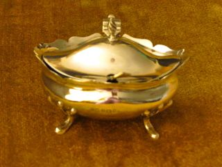 Antique English Sterling Silver Mustard Pot / Salt Cellar,  Hallmarked. photo