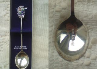 Hallmarked Sterling Silver Teaspoon Boxed.  Tobermory Souvenir.  Excellent Cond photo