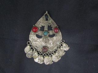 Antique Turkoman Tribal Silver Alloy & Gem Stone Pendant Jewelry photo