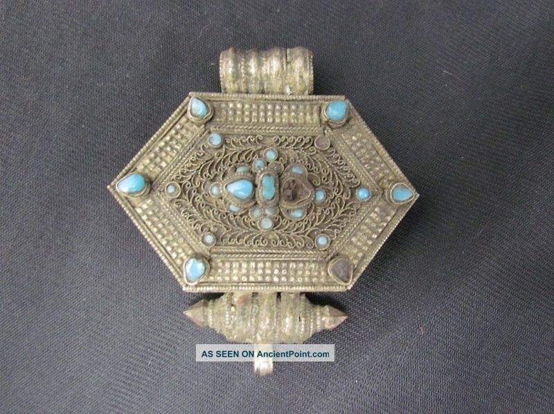 Antique Turkoman Tribal Silver Alloy & Turquoise Gun Powder Box Or Jewelry Nr Middle East photo