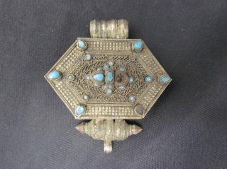 Antique Turkoman Tribal Silver Alloy & Turquoise Gun Powder Box Or Jewelry Nr photo