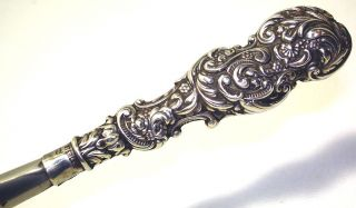 Antique Victorian Shoe Horn Sterling Silver Handle Art Nouveau Hallmarked No Res photo