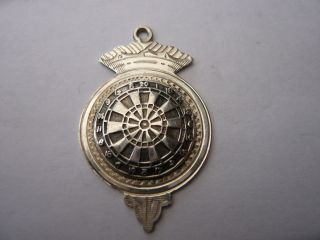 Vintage Old Sterling Silver Pocket Watch Chain Fob Medal Sporting Darts 1952 photo