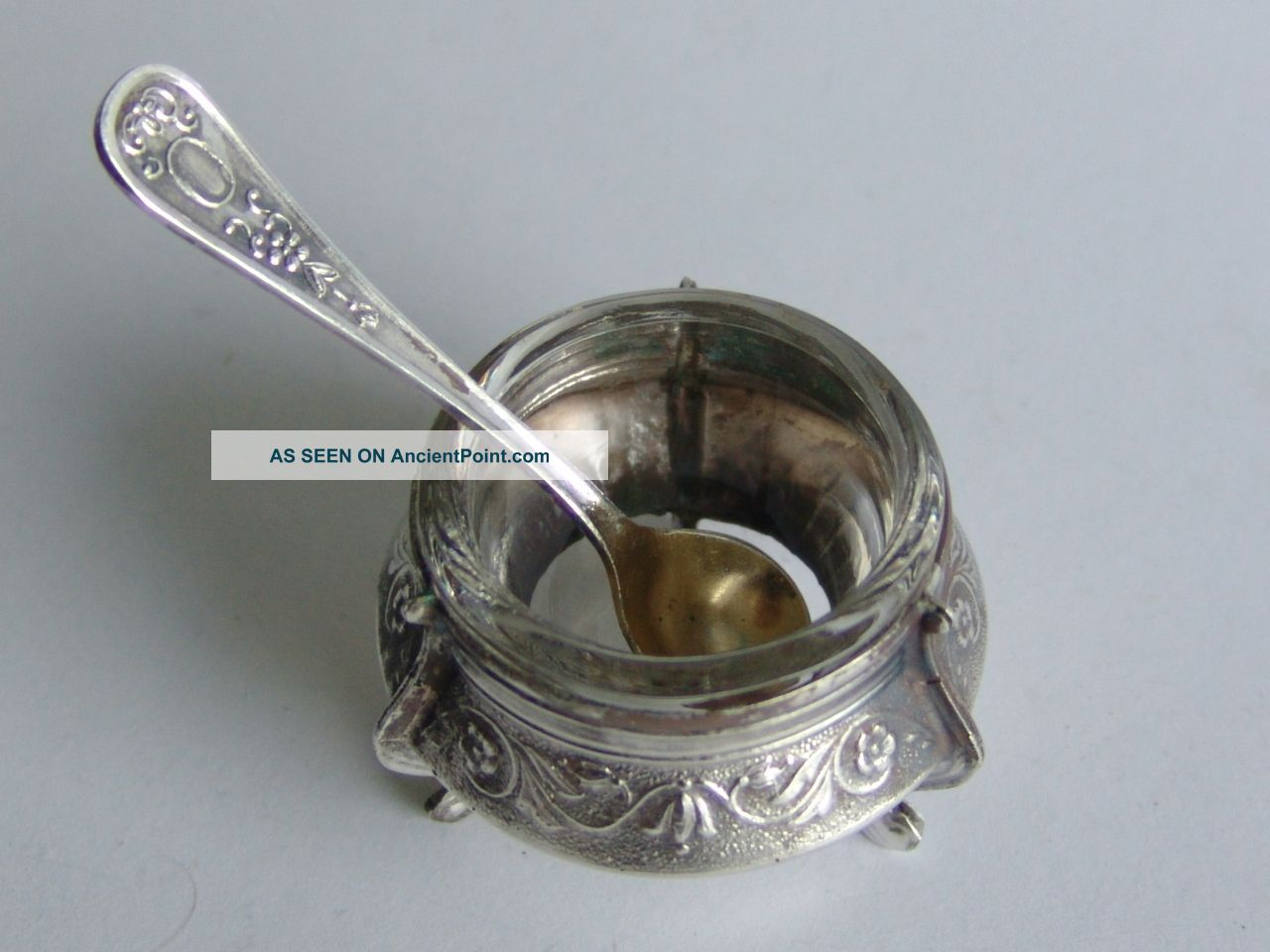 Russian Vintage Silver Pl.  Salt Cellar With Spoon Russia photo