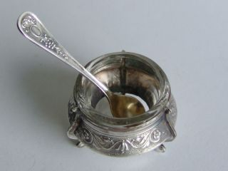 Russian Vintage Silver Pl.  Salt Cellar With Spoon photo