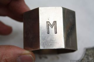 Monogram Silver Vintage French Napkin Ring photo