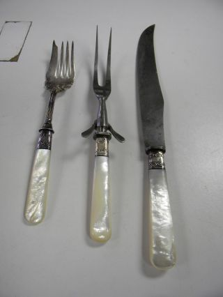 Antique Mother Of Pearl Sterling Band Carving Set Excellent photo