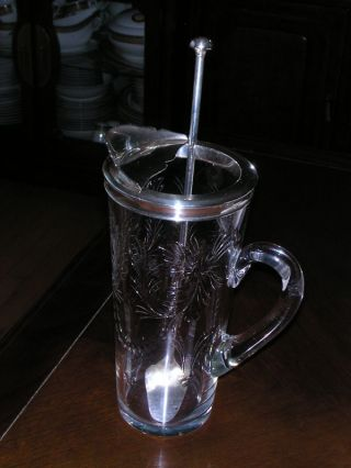 Vintage Hawkes Cut Glass Sterling Martini Pitcher W/rod photo