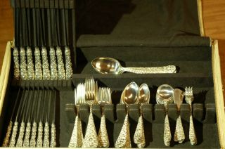 Baltimore Rose By Schofield Sterling Silver.  925 Flatware Set photo