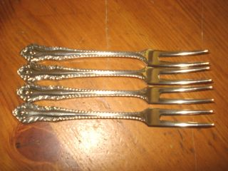 Pretty Set Of 4 Falstaff Silver Plated Pickle Forks photo