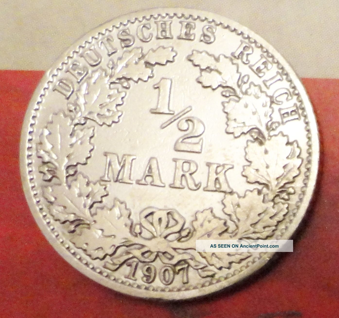 1/2 Mark 1907 A Germany Silver Coin Berlin Mint Coin Silver (.900) photo