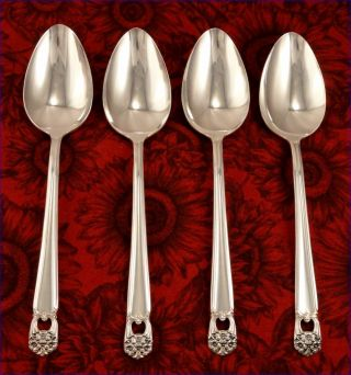 1847 Rogers Eternally Yours Set 4 Dessert Or Oval Soup Spoons Vintage 1941 photo
