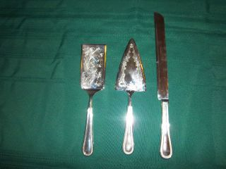Towle Beaded Antique Cake Server Pie Server Cake Knife Silverplate 1977 photo