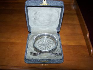 Vintage Sterling Silver Bowl And Fork,  Wreath Mark 3132,  With Box photo