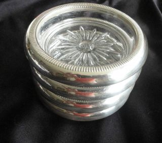 Four Sterling Silver And Crystal Coasters By Crown Sterling photo