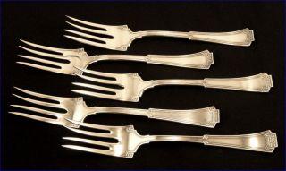 Rare Set 5 Vintage 1915 Oneida 1881 Rogers Grecian Silver Plate Salad Forks photo
