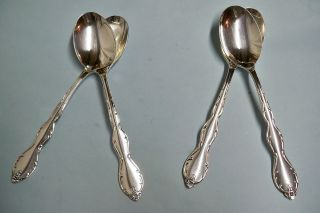 4 Camelot Melody Oval Soup Spoons - 1964 Rogers Floral - - Clean & Table Ready photo