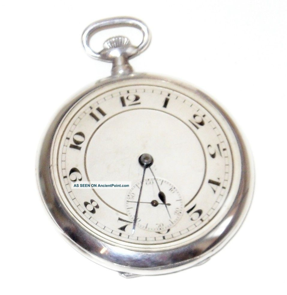 Solid Silver Art Deco Pocket Watch (swiss Made) London 1924 (george Stockwell) Pocket Watches/ Chains/ Fobs photo