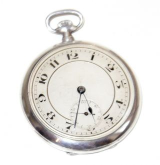 Solid Silver Art Deco Pocket Watch (swiss Made) London 1924 (george Stockwell) photo