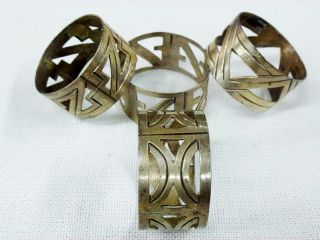 Set Of 4 Taxco Mexico.  925 Sterling Silver Napkin Rings Signed A.  L.  55.  69g photo