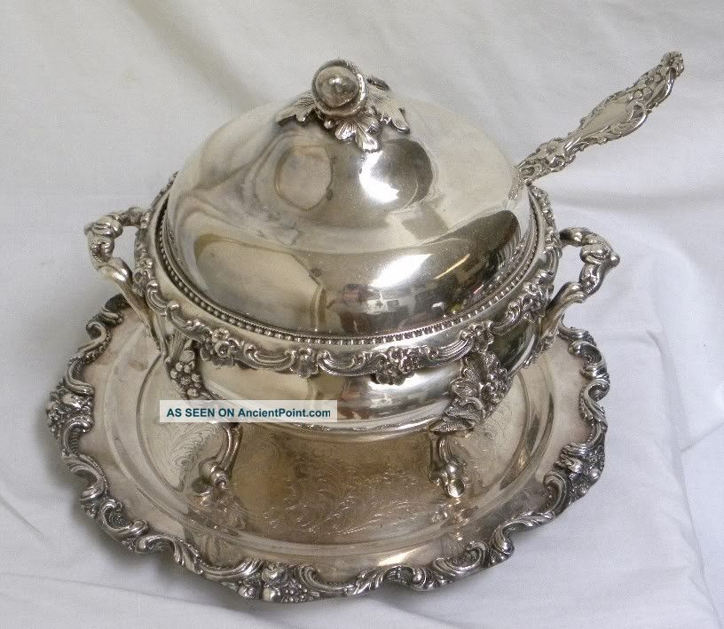 Antique Baroque Very Ornate Silver Soup Tureen & Tray United Kingdom photo