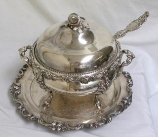 Antique Baroque Very Ornate Silver Soup Tureen & Tray photo