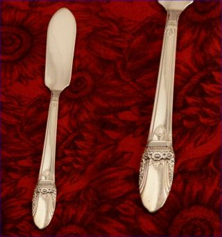 1847 Rogers First Love Master Butter Knife 1937 Art Deco Vintage photo