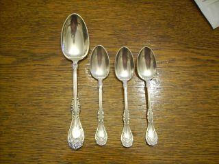 Rogers 1901 Hanover 3 Teaspoons & 1 Table Serving Spoon Oneida Silverplate photo