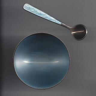 Denmark Sterling Silver Vb Volmar Bahner Ligh Blue Enamel Open Salt & Spoon photo