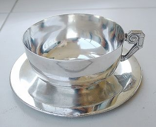 Mexican Art Deco Silverplate Decorative Cup And Saucer Hand Crafted.  Engraving photo
