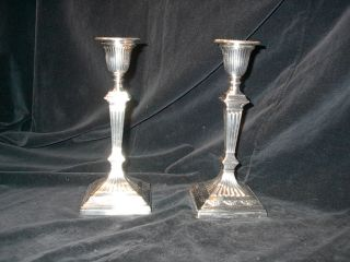 1 Pair Of Victorian Georgian Silverplate Candlesticks Fluted Hawksworth Eyre &co photo