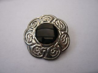 Vintage Scottish Sterling Silver Celtic Brooch Designer Kit Heath Heavy photo