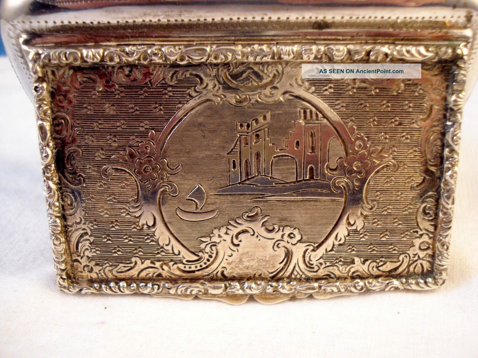 Antique 1852 Austria 800 Silver Snuff Box Engraved W/castle Scenery,  Excellent Other photo