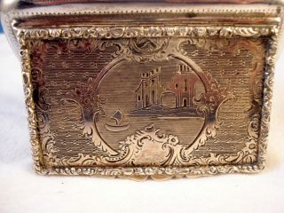 Antique 1852 Austria 800 Silver Snuff Box Engraved W/castle Scenery,  Excellent photo
