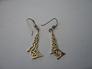 Vintage Scottish Sterling Silver Celtic Drop Earrings Designer Kit Heath Kh93 photo