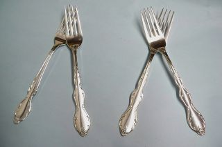 4 Camelot Melody Dinner Forks - Ornate 1964 Rogers - - Clean & Table Ready photo