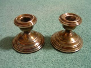 Vintage Hamilton Sterling Weighted Candle Holders Pair photo