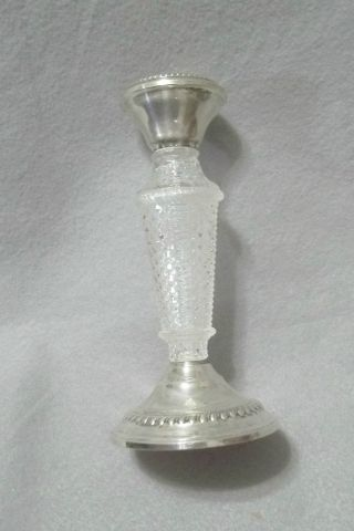 National Silver Co Sterling And Crystal Candle Holder 6