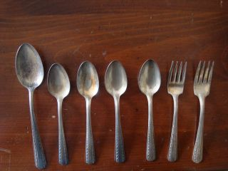 Vintage Set Of American Silver Co.  Spoons And Forks - Harvest Pattern photo