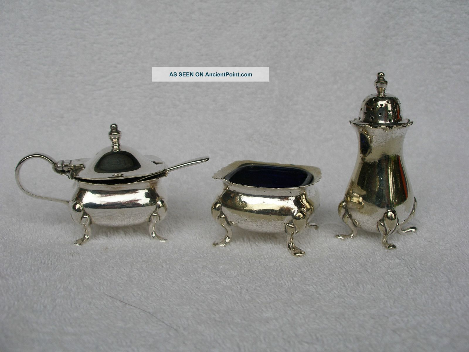 Silver Plated Salt,  Pepper & Mustard,  Blue Glass Liners.  Very Good Condition Salt & Pepper Cellars/ Shakers photo