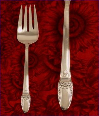 1847 Rogers First Love Meat Serving Fork 1937 Art Deco Vintage Silver Plate photo