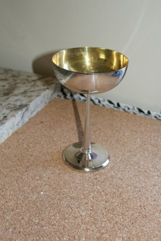 Pair Of Silver With Bronze Lineing,  Wine Goblets photo