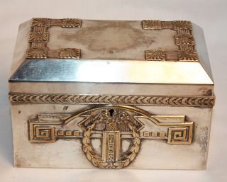 Anitque German Argentor Silver Plate Trinket Box Silverplate Greek Key Wreath photo