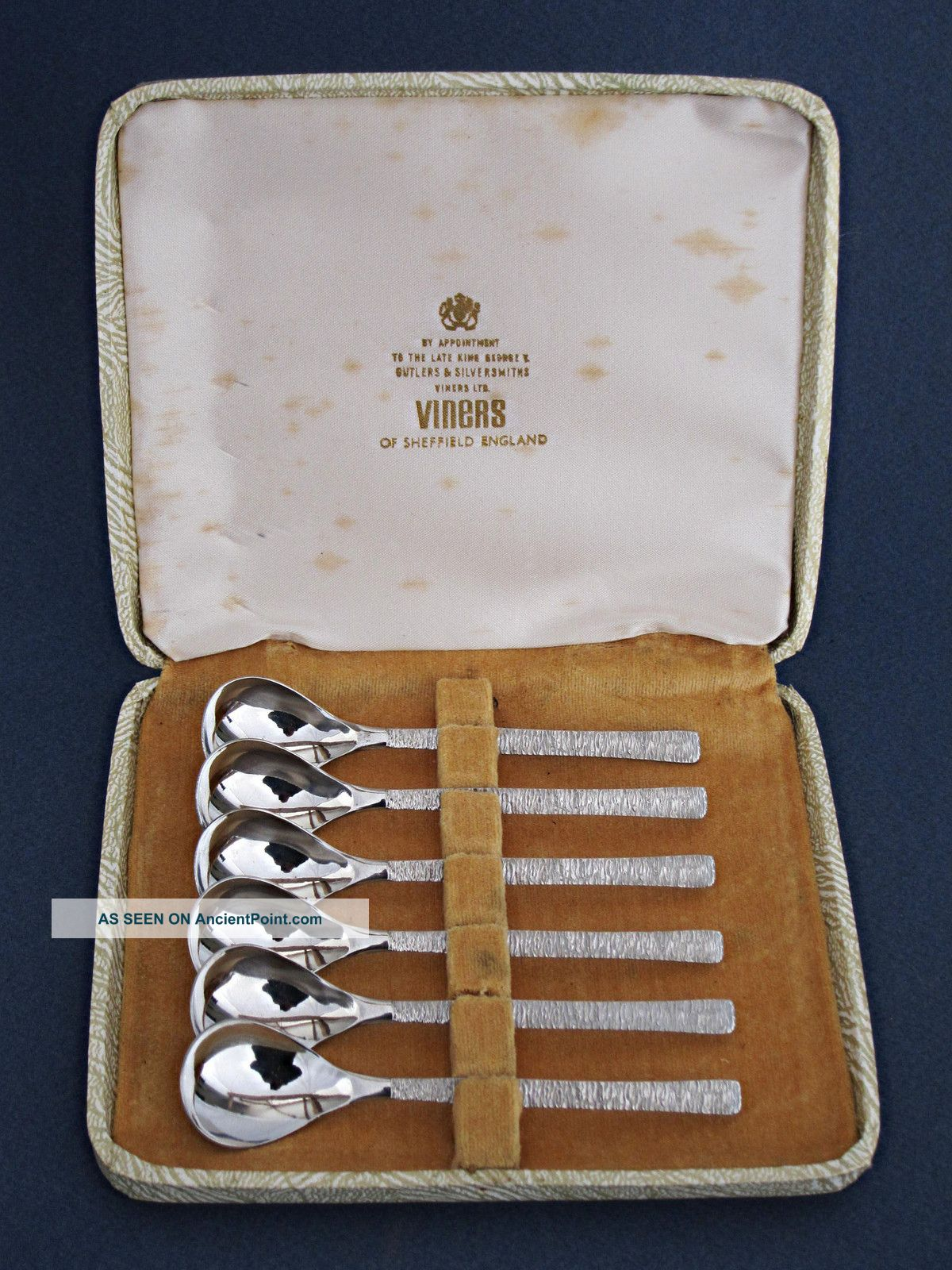 Fine Set 1960s Stainless Steel Tea Spoons By Viners + Box Knife Fork Cutlery Other photo
