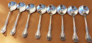 8 Oneida Wm A Rogers Silverplate Bouillon Spoons,  Hanover,  1901 photo