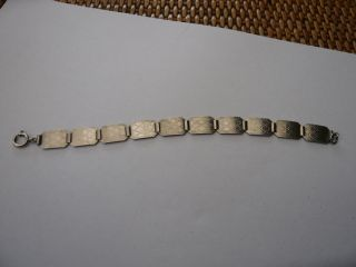 Vintage Antique 1930,  S Art Deco Solid Sterling Silver Panel Bracelet Fidelity photo